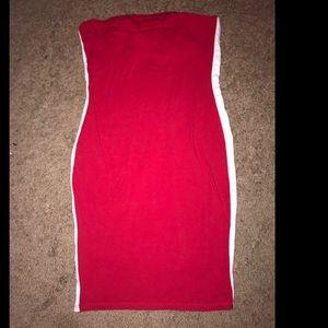 Strapless tight mini red dress